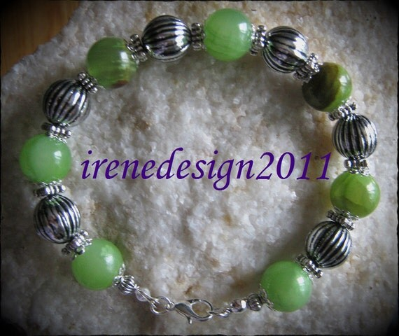Handmade Silver Bracelet with Old Green Jade & Silver Balls by IreneDesign2011