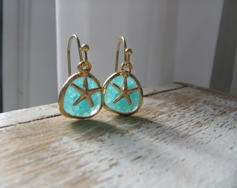 14k Gold Filled Mint Earrings with Starfish Starfish Earrings Mint Earrings Gold earrings ocean blue earrings blue lagoon beach earrings