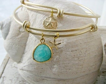 Bangle Set - Gold mint Bangle Sand Dollar Bangle Starfish Mint turquoise ocean blue Gemstone Mint Bracelet Bridesmaid bangle Beach Wedding
