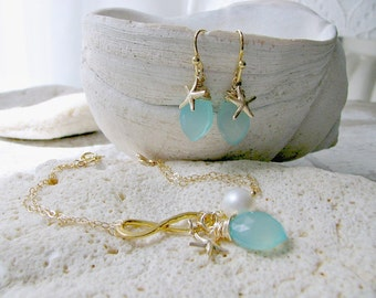 Bridesmaid set of 4 ~ Aqua Infinity & Pearl Bracelet Aqua Earring Sets Gold Starfish Earrings Pearl Bridesmaid Jewelry Beach Wedding gifts