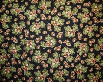 Per Yard, Harvest Medley Acorns With Metallic Gold Fabric From Quilting Treasures