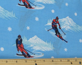 Skiing Fabric Allover Sold By the Yard 100% Cotton