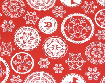 Per yard, Red and White Medallion Fabric