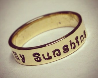 Hand stamped NuGold Red Brass Ring with your choice of names or mantra 5mm