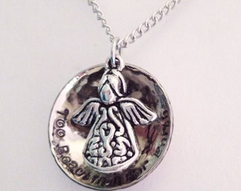 Hand stamped Too Beautiful For Earth pendant hammered polished angel with wings loss of infant