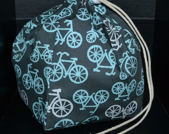 Bikes and Pups Drawstring Totebag-Medium