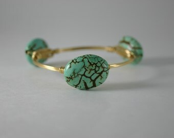 Turquoise Stone Wire Wrapped Gold Bangle