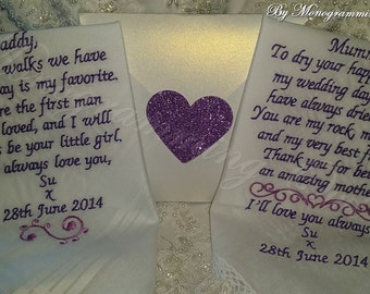 Mom and Dad Personalized Wedding Handkerchief. Gift for the Mother and Father of the Bride Free Gift Envelope included.
