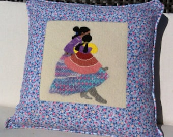 Vintage Latin American Mother and Child Needlepoint Pillow