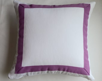 White Pillow Cover with Purple/Pink Banding