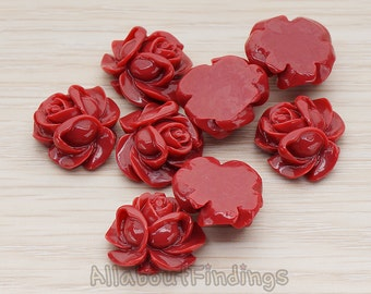 CBC214-01-IR // Indian Red Colored Full Bloom Rose Flower Flat Back Cabochon, 4 Pc