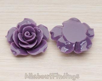 CBC157-07-DU // Dark Purple Colored 35mm Angelique Rose Flower Flat Back Cabochon, 2 Pc