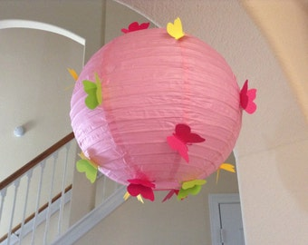 "12"" strawberry mango, paper lantern, butterfly lantern, butterfly decor, butterfly party, butterfly birthday, butterfly wedding, ,"