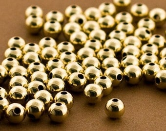 5mm Gold filled Round Beads, Gold filled beads, Seamless Gold Beads, 14k 14/20 round Beads, 50 PCS, Round gold Beads 5MM