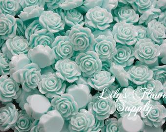 Aqua Resin Rose Button - Rose Center Piece - Flatback Button - Resin Rose- Pearl Button - Wholesale - You pick colors - 10 Pieces