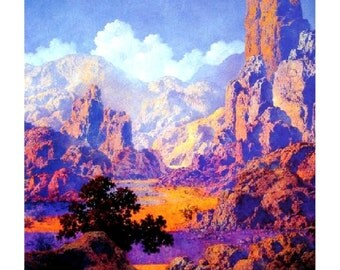 "Arizona, 1950, Maxfield Parrish, Desert, Landscape 11x14"" Cotton Canvas Print"
