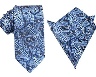 Matching Necktie + Pocket Square Combo Paisley Black and Blue (X717-T85+PS) Men's Handkerchief + Neck Tie 8.5cm Ties Neckties Wedding