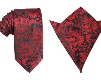 Matching Necktie + Pocket Square Combo New Paisley Red and Black (X718-T85+PS) Men's Handkerchief + Neck Tie 8.5cm Ties Neckties Wedding