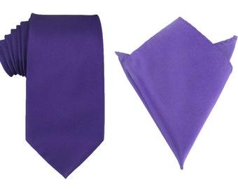 Matching Necktie + Pocket Square Combo Design New Royal Dark Purple (X081-T85+PS) Men's Handkerchief + Neck Tie 8.5cm Ties Neckties Wedding