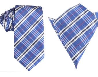 Matching Necktie + Pocket Square Combo Scotch Blue Pattern Design (X126-T85+PS) Men's Handkerchief + Neck Tie 8.5cm Ties Neckties Wedding