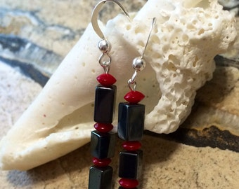 Red coral and  Hematite sterling silver Stick earrings.