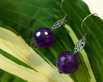 Sterling Silver Big Purple Rounds Amethyst  Earrings.