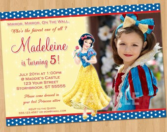Snow White Invitation - Snow White Party - Custom Personalized Snow White Birthday Party Invite - Snow White Printable - Disney Princess