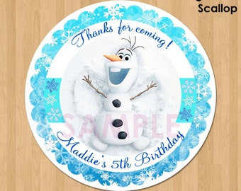 Disney Frozen Favor Tag or Label - Olaf Frozen Birthday Party Favor - Printable Treat Bag Label Thank You Favor Sticker Circle - 2.5 inch
