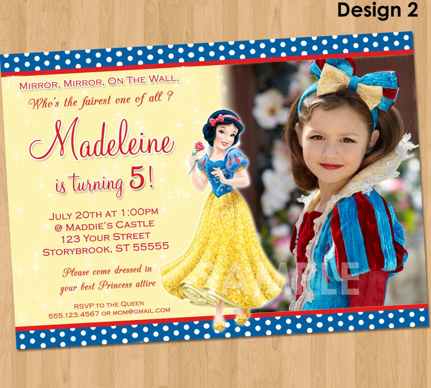 snow white invitation snow white party custom personalized, Birthday invitations