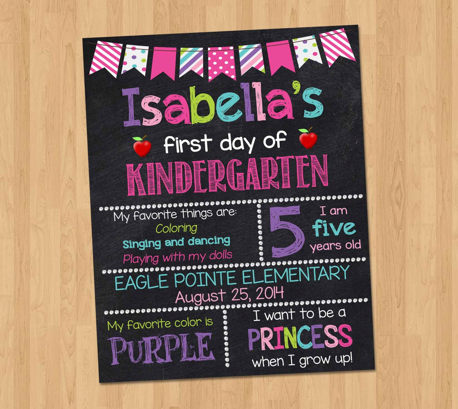 This is a graphic of Tactueux First Day of Kindergarten Sign Printable