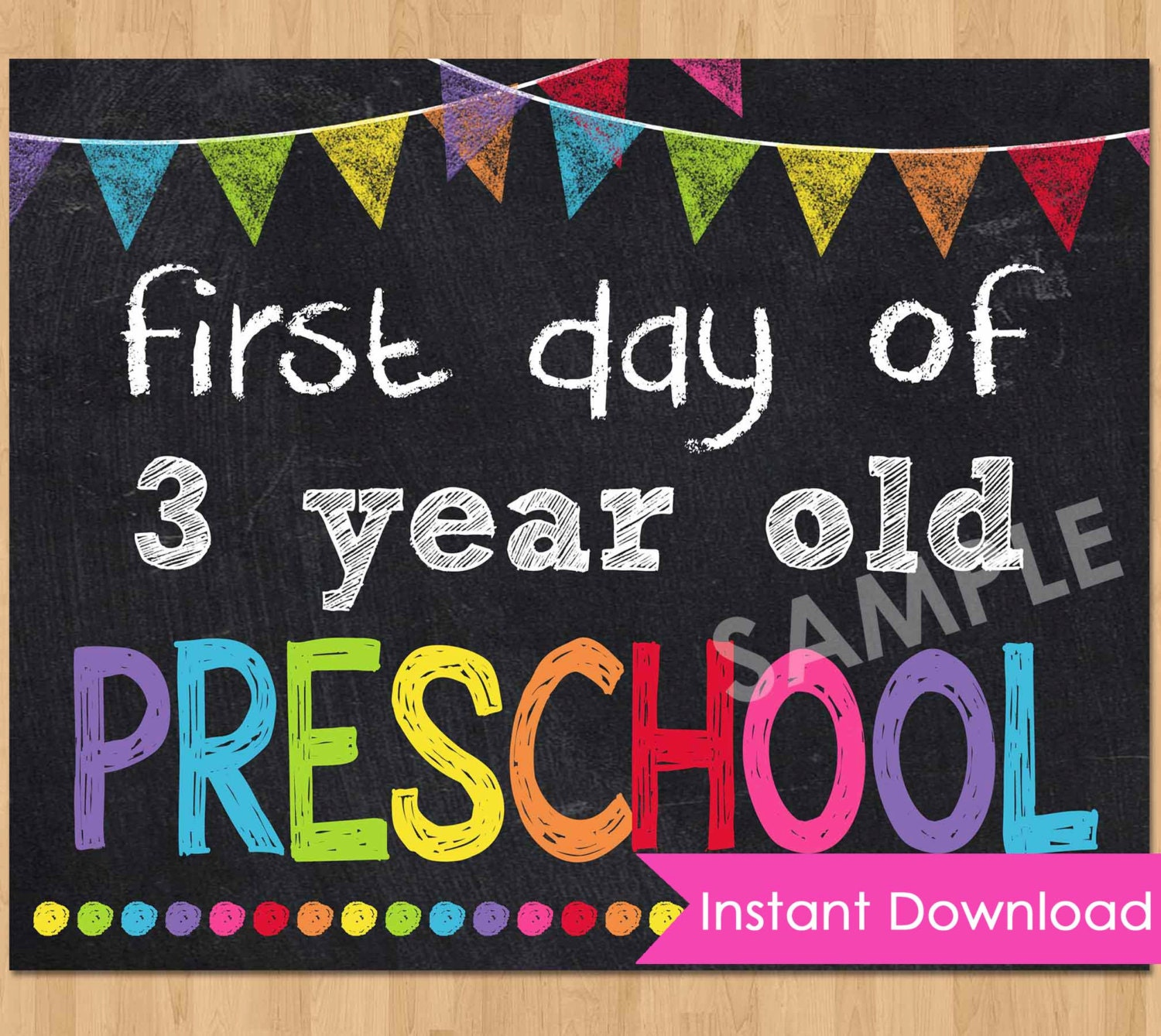 This is a graphic of Crazy First Day of Preschool Printable Sign