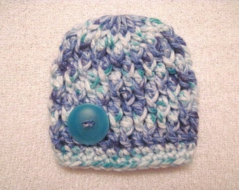 Crochet Baby Beanie Size Newborn Boy Chunky  Cable Stitch Blue Teal White ON SALE!!