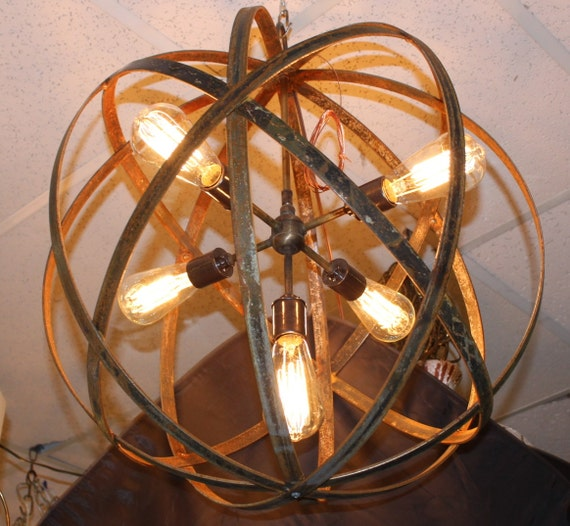 Industrial Tin Chandelier Industrial By Industriallightworks: Orb Chandelier Industrial Sphere Metal Strap By