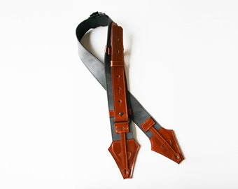 Guitar Strap(2Dsign Collection)Rust colored gray sky genuine leather strap:Handmade design,good quality,good design and a unique byARTISTAYA