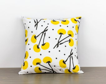 "Pillow cover--16""x16""--yellow, black, white, floral, modern, handmade, accent pillow, throw pillow"