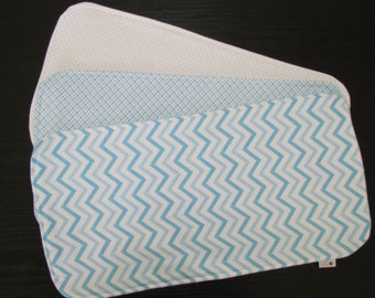 Flannel 3-Ply SUPER Absorbent Burp Cloths- Mixed Blues, Set of 3