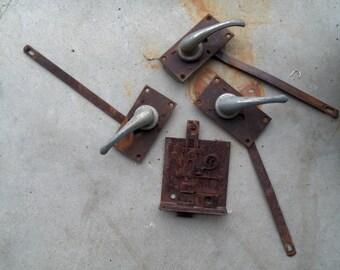 Vintage Rusty Industrial Door Handles And Hardware