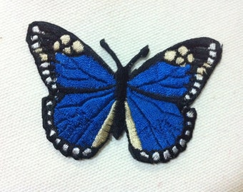 Lot Of 2 Pieces Blue Butterfly ( 7.5 x 5 cm) Embroidered Iron on Applique Patch (P)