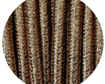 Fabric Textile cable wire for Lighting Round 2x0.75 in brrown chocolate sparkle EGST