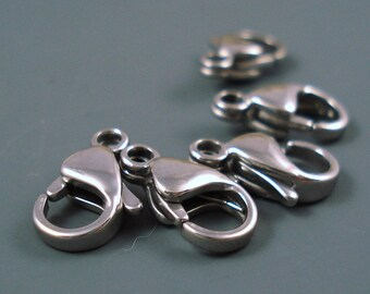 Silver Stainless Steel Clasp, 13MM Lobster Claw, FIVE pieces (LCSS4)
