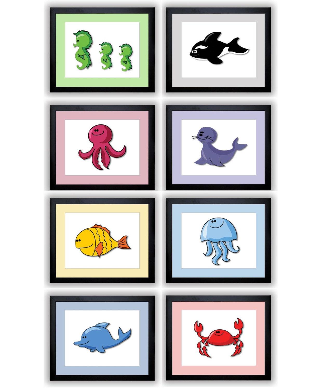 Marine Animal Sea Animals Print Mix & Match Nursery Art Octopus Seal Whale Dolphin Fish Jellyfish Se