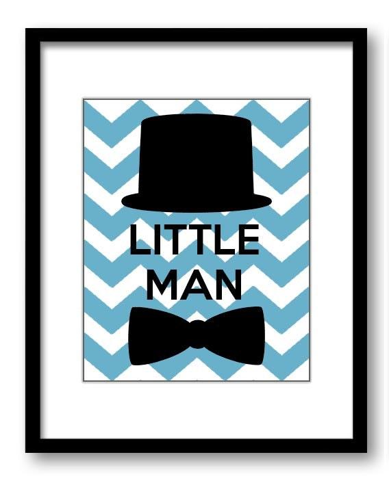 Blue Little Man Nursery Art Nursery Print Tophat Bowtie Child Baby Boy Art Print Kids Room Wall Art