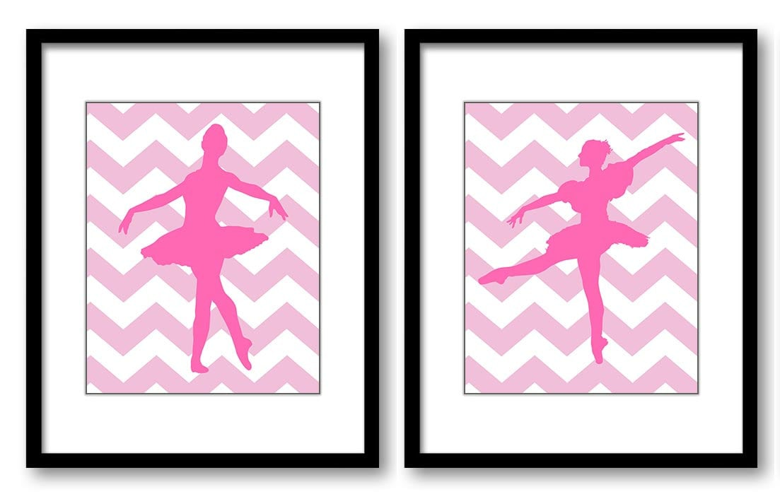 Pink Ballerina Ballet Print Child Baby Art Prints Set of 2 Girl Girls Art Nursery Art Nursery Print