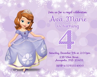 Sofia the First Birthday Party Invitation - Digital File
