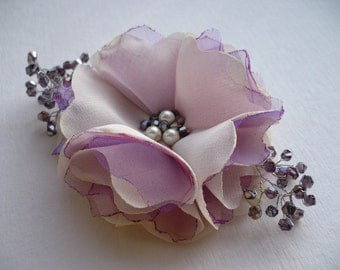 Ivory-purple flower hair clip Bridal hair accessory Bridesmaids hair accessory Flower accessories