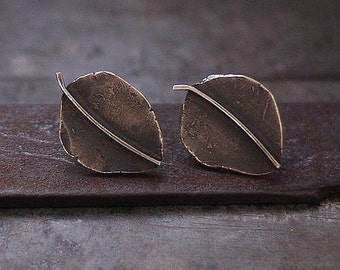 SALE 10 - 20 % OFF use the code • Simple Leaf Stud Earrings • 925 Sterling Silver • Modern Minimalist Oxidized Silver Post Leaf