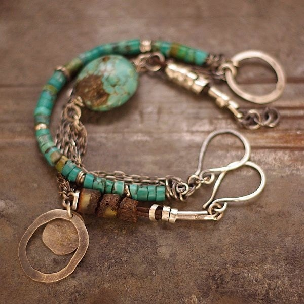 set handmade bracelets turquoise sterling silver Baltic