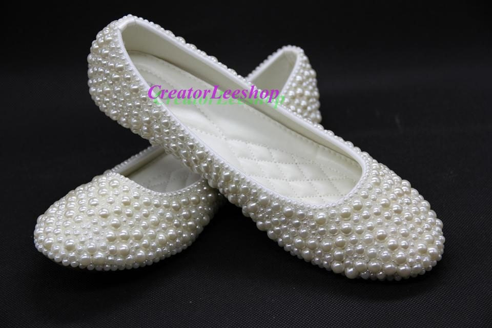 Ivory Flats With Pearls Ivory Prom Flats Ballet Flat
