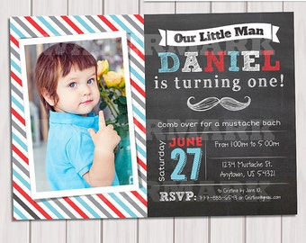 Little Man Chalkboard Invitation Mustache Birthday, Printable Custom Invite, Moustache photo invitation, First Birthday Invite, Printable