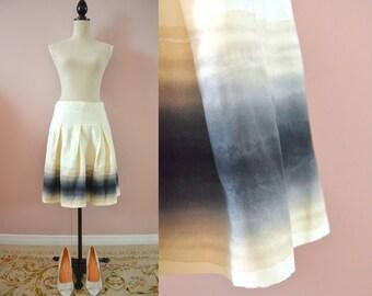 Club Monaco silk watercolor skirt • vintage 90s 1990s print art wash pleated pleat silk skirt small